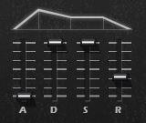アンプ・エンベロープ、ADSRの設定。サステインをMAXにしました。